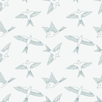 Vintage seamless pattern con piccole rondini.