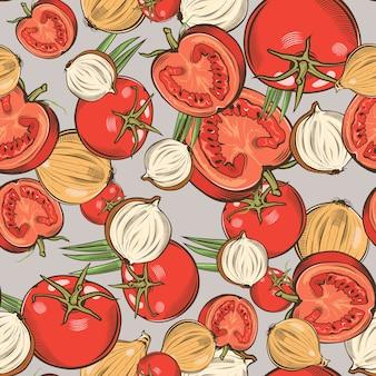 Reticolo senza giunte dell'annata con i pomodori e le cipolle.