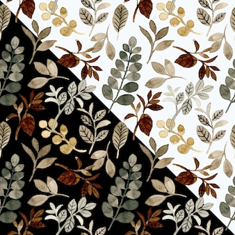 Modello senza cuciture d'annata con le foglie dell'acquerello