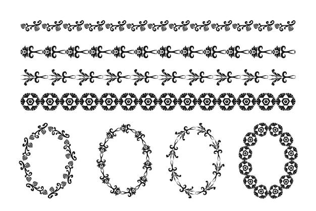 Set vintage di elementi decorativi per la progettazione di inviti di nozze menu cornici
