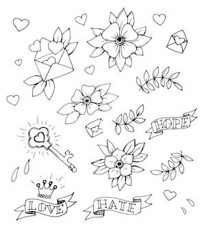 Set vintage di elementi di design tatuaggio tradizionale disegnati a mano