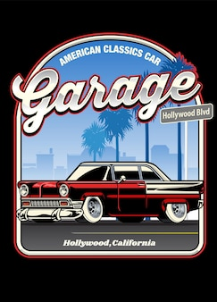 Design della camicia vintage di un'auto d'epoca americana