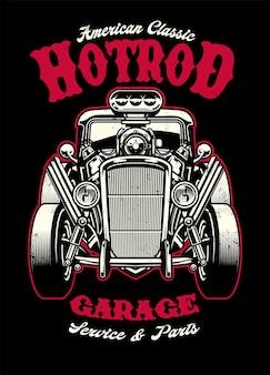 Camicia vintage design di auto hotrod con grande motore