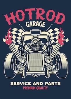 Maglietta vintage design dell'auto personalizzata hotrod