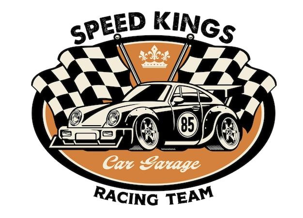 Design della camicia vintage del concetto di auto da corsa