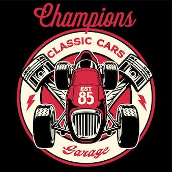 Camicia vintage design di una vecchia auto da corsa retrò