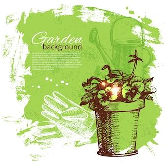 Fondo di giardinaggio di schizzo dell'annata. disegno disegnato a mano