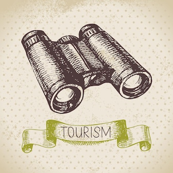Fondo di turismo di schizzo dell'annata. illustrazione disegnata a mano di escursione e campeggio