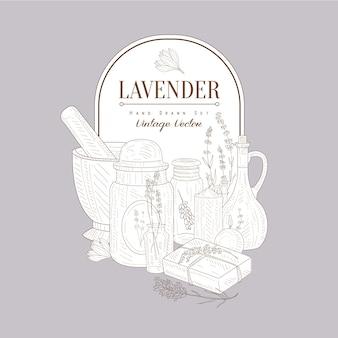 Schizzo vintage con set di prodotti di lavanda