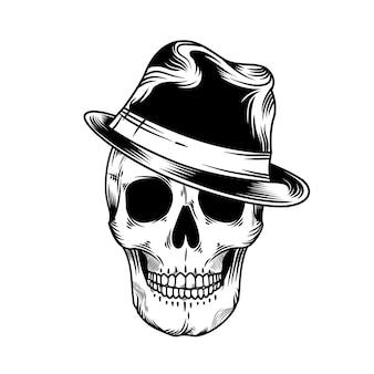 Illustrazione vintage della testa del teschio con cappello mafioso