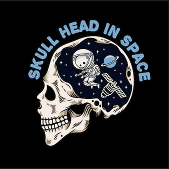 Illustrazione vintage della testa del teschio con lo spazio e l'astronauta in testa
