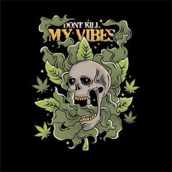 Illustrazione vintage del teschio con nuvole di cannabis intorno