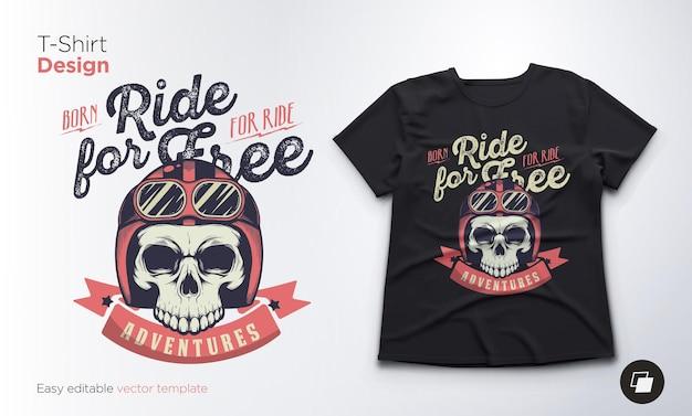 Emblema di vettore del cranio dell'annata. stampa per t-shirt, felpe e souvenir.