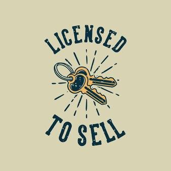 Tipografia di slogan vintage con licenza di vendita