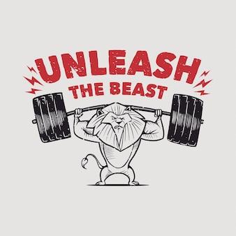 La tipografia di slogan vintage scatena il leone bestia che ha sollevato il bilanciere