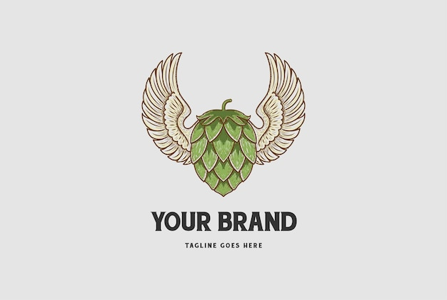Ali spiegate dell'annata con il luppolo per la progettazione del logo dell'etichetta del birrificio della birra artigianale vector