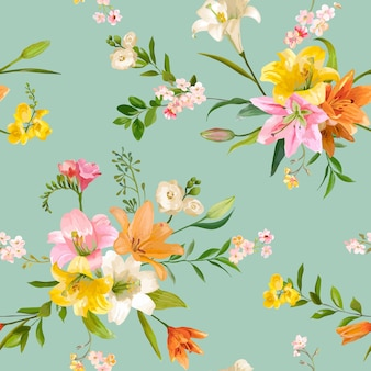 Modello di giglio floreale senza cuciture con fiori primaverili vintage