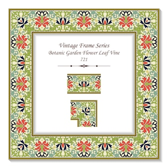 Vintage square 3d frame botanic garden flower leaf vine, retro style.