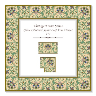 Cornice quadrata vintage 3d fiore botanico cinese a spirale foglia di vite, stile retrò.