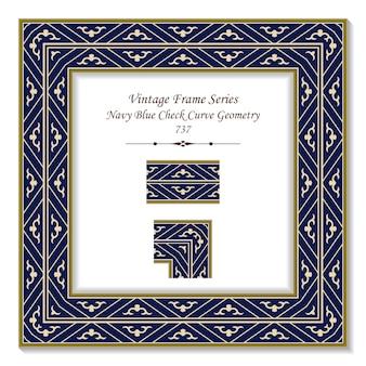Vintage square 3d frame blu navy check geometria della curva, stile retrò.