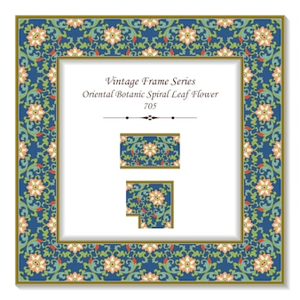 Vintage cornice quadrata 3d fiore foglia spirale botanica orientale, stile retrò.