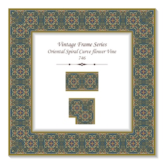 Vintage square 3d frame oriental spirale curva fiore vite, stile retrò.