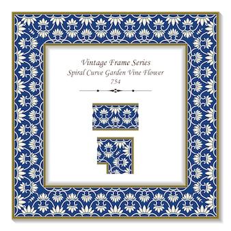 Vintage square 3d frame curva a spirale giardino vite catena di fiori, stile retrò.