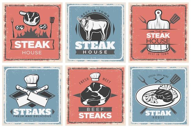 Set di poster vintage steak house