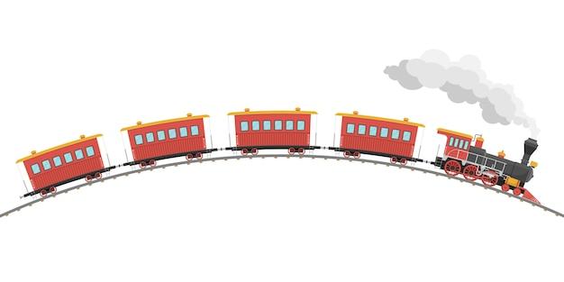 Illustrazione d'annata dei vagoni e della locomotiva a vapore isolata