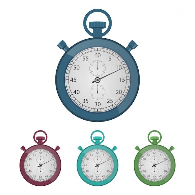Illustrazione d'annata di progettazione del cronometro isolata su fondo bianco
