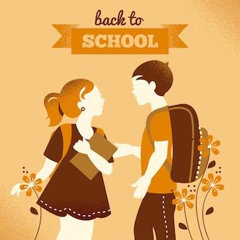 Sfondo di studenti d'epoca. ragazzo e ragazza della scuola. ritorno a scuola illustrazione