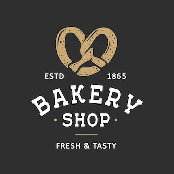 Modello di logo dell'emblema del distintivo dell'etichetta del negozio di panetteria in stile vintage arte alimentare con pretzel inciso