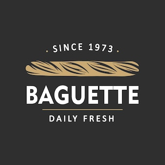 Baguette del modello del logo dell'emblema del distintivo dell'etichetta del negozio di panetteria in stile vintage semplice style