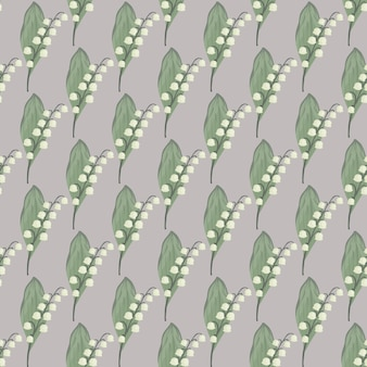 Motivo floreale senza cuciture in stile vintage con ornamento di mughetto verde e bianco