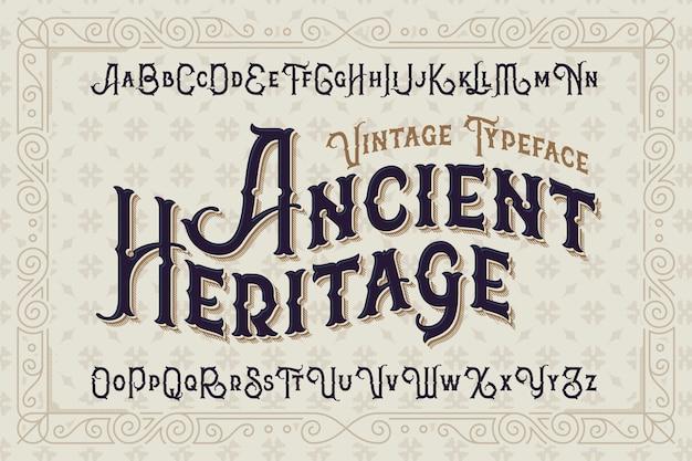 Tipo di carattere stile vintage impostato con ornamento classico