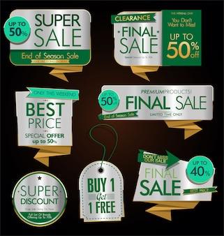 Etichette di vendita d'oro stile vintage