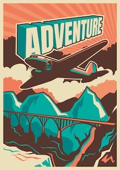 Poster design in stile vintage con aeroplano.