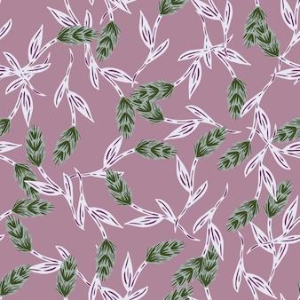 Modello senza cuciture in stile vintage con spiga verde casuale di elementi di grano. sfondo viola pastello. progettazione grafica per carta da imballaggio e trame di tessuto. illustrazione di vettore.