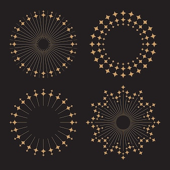Sprazzo di sole in stile vintage con diamanti glitter design piatto vettoriale isolato