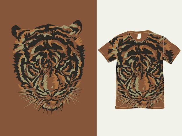 Il design della maglietta con testa di tigre in stile vintage Vettore Premium