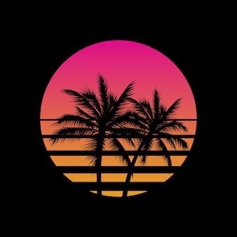 Tramonto in stile vintage con palme sagome logo o icona gesign modello su sfondo nero. sole di vaporwave.