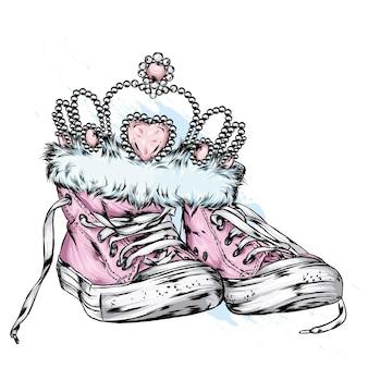 Scarpe da ginnastica e corona alla moda vintage