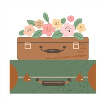 Valigia vintage con decorazione di fiori estivi viaggio romantico concetto piatto illustrazione vettoriale