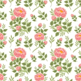 Modello senza cuciture floreale estivo vintage di bouquet di peonie di pesche, boccioli di fiori e composizioni di rami di foglie