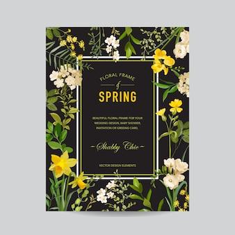 Cornice floreale vintage estiva e primaverile. fiori di campo dell'acquerello per invito, matrimonio, baby shower card