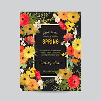 Cornice floreale vintage estiva e primaverile. fiori ad acquerello per invito, matrimonio, biglietto per l'acquazzone