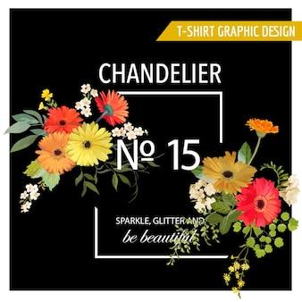 Grafica vintage con fiori estivi e primaverili per magliette, moda, stampe in