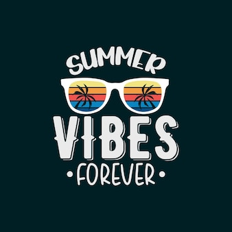 T-shirt tipografica per sempre con vibrazioni estive vintage