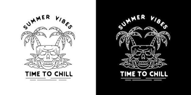Vintage summer vibes monoline