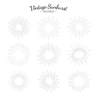Insieme di raccolta vintage sunburst. strisce di design grafico solare retrò